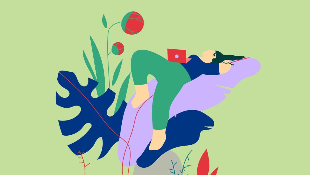 ilustracja, kobieta leży na kocu, na brzuchu ma otwarty laptop