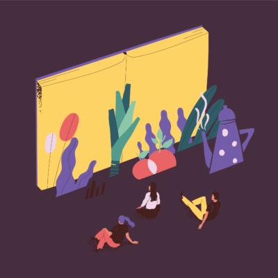 ilustracja - czarne tło a na nim otwarta żółta księga
