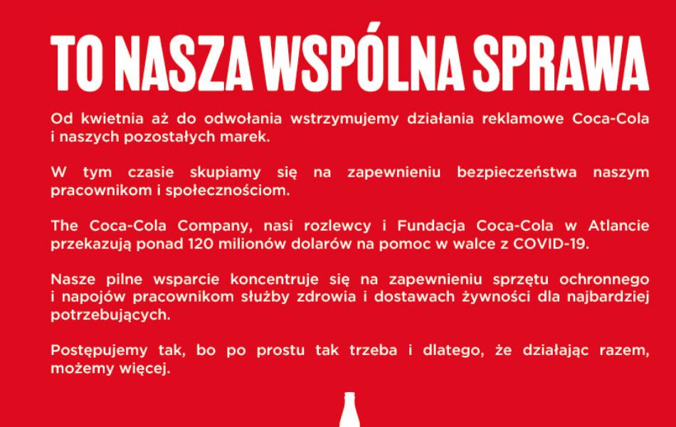 deklaracja coca-cola, czerwone tło a na nim biały napis);